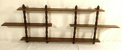 Mid Century Modern Wood Wall Knick Knack Display Curio Shelf 3 Tier Spindle Vtg