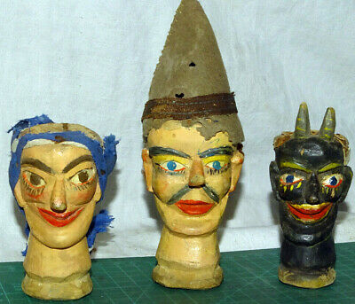 3 Victorian Punch &Judy  wooden arved puppets/marionettes heads Devil/clown/lady