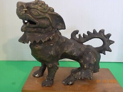 Chinese Antique Ming to Qing Dynasty Bronze Guardian Lion Foo Dog Figure