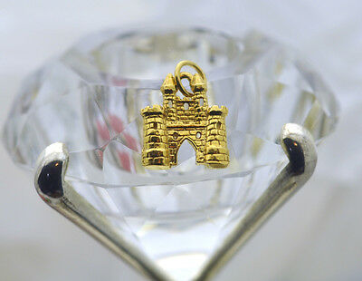NICE Fairy Tale medieval Gold plated Sterling Silver King Castle Charm Jewelry