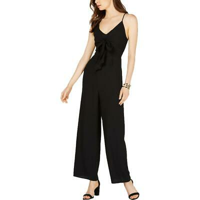19 Cooper Womens Black Tie Front Wide Leg Night Out Jumpsuit S BHFO 2393