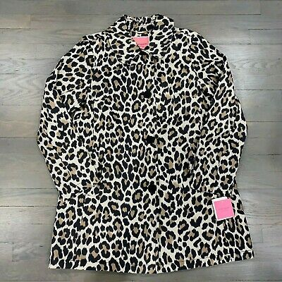 Kate Spade New York Women's Jacket Leopard Print Trench Raincoat Size Small
