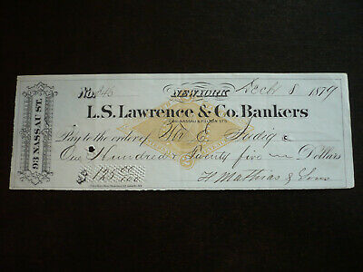 Cheque from L.S. Lawrence & Co. Bankers, New York - 1879