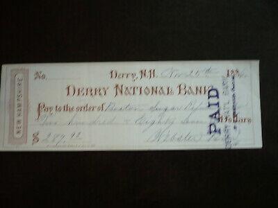 Cheque from Derry National Bank, Derry, New Hampshire - 1886