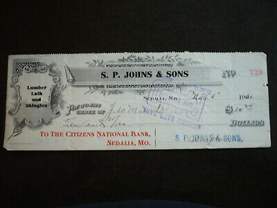 Cheque from Citizens National Bank, Sedalia, Mo. - 1910