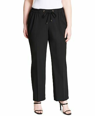 Calvin Klein Women's Pants Black Size 24W Plus Stretch Drawstring $74 #575