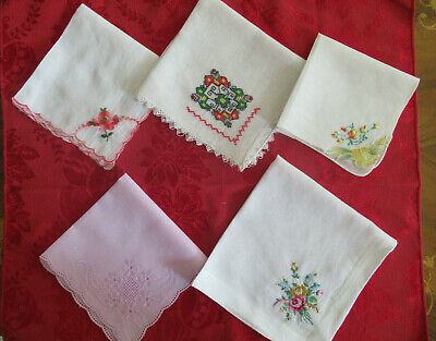 Vintage 5 embroidered ladies' cotton handkerchiefs some decorative edges Clean