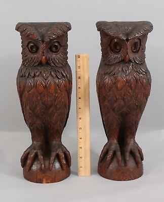 Pr Antique Circa-1900 Hand Carved Oak Great Horned Owls, Architectural Fragments