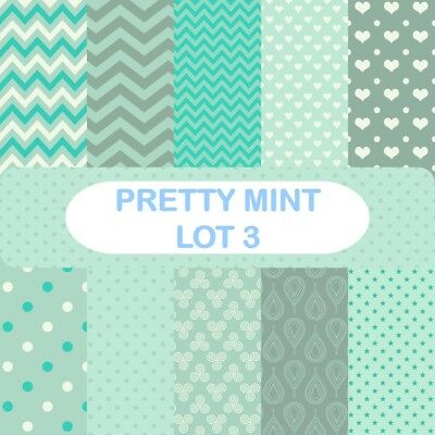 PRETTY MINT - LOT 3 SCRAPBOOK PAPER - 10 x A4 pages
