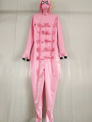 Latex Rubber Pink Catsuit Gummi Sexy Overall Cosplay Animal Bodysuit S-XXL 0.4mm