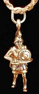 NICE Gold Plated over sterling silver Trojan Soldier Warrior Medieval Charm Jewe