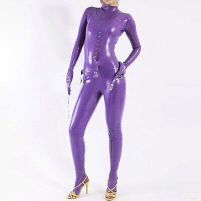 Latex Rubber Purple Catsuit Sexy Overall Cosplay With Band Bodysuit S-XXL 0.4mm