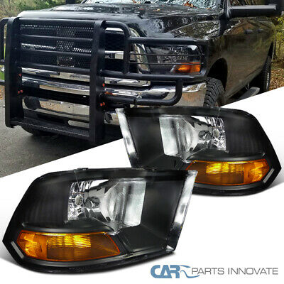 For Dodge 09-19 Ram 1500 2500 3500 Euro Pickup Black Headlights Lamps w/ Amber