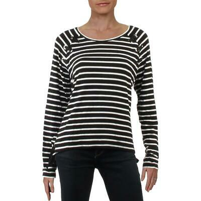 Generation Love Womens B/W Lace-Up Striped Tee T-Shirt Top S BHFO 2897