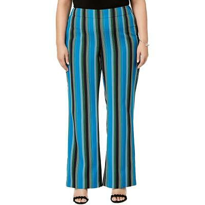 INC Womens Blue Striped Wide Leg Mid Rise Pants Plus 18W BHFO 0172
