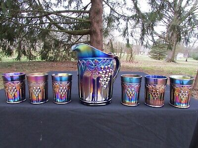 Northwood GRAPE & GOTHIC ARCHES ANTIQUE CARNIVAL COMPLETE 7 PC. WATER SET~BLUE!