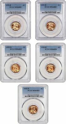 Lotto di 1955-D 1c PCGS MS66 Rd (5 Monete) - Lincoln Cent