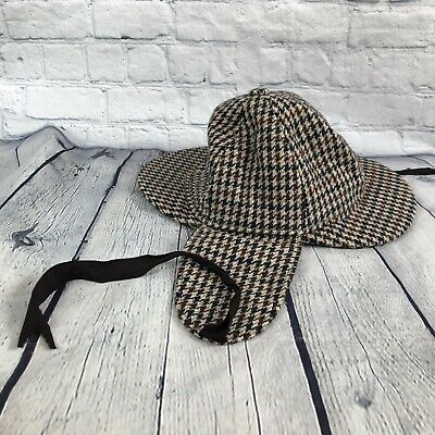 Dunn & Co Great Britain Men's Houndstooth Paperboy Hat Cap-Flaps Sherlock Holmes
