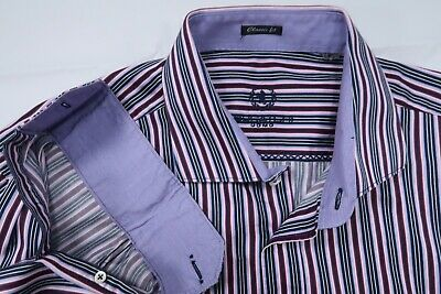 """Bugatchi Uomo Classic Fit Contrast Button Up Shirt Mens Xxl Long 34"""" Sleeve Pink"""