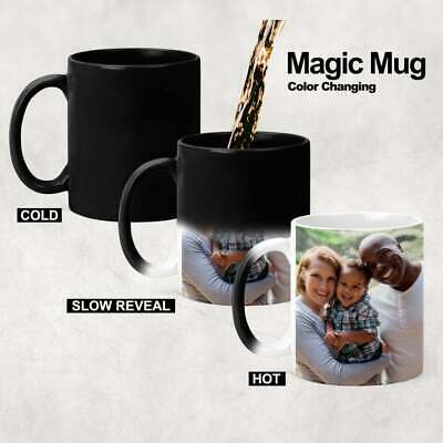 Personalised Mug Magic Black Color Changing Customise Image Text Picture Name