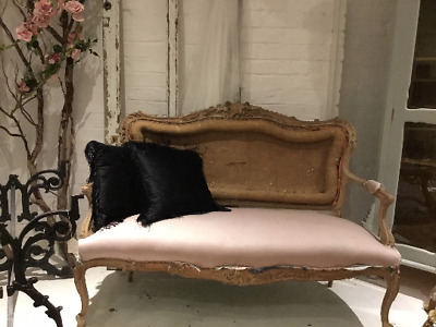 Stunning Antique French Sofa Carved Wood Upholstery Project
