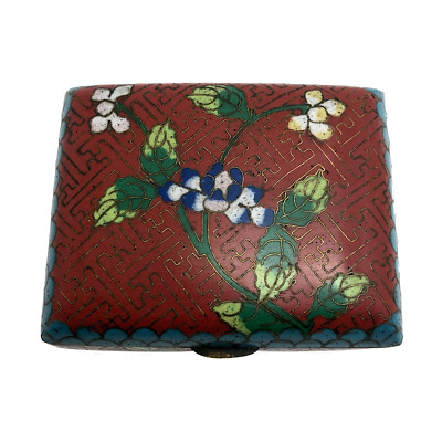 Early 20th Century Red Chinese Cloisonne Box with Floral Design