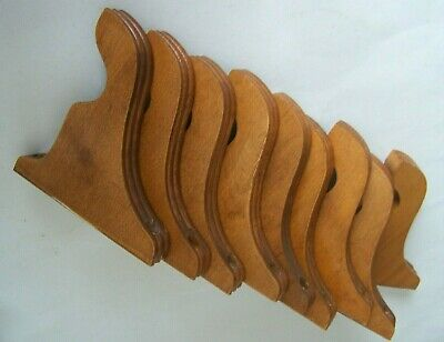 "9 Vintage Wood Brackets Curtain Rod Holders Decorative Curved 5.75"" x 4.25"""