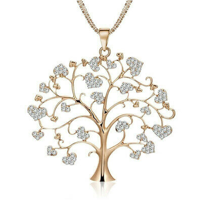 Hot Gold Women's Tree of Life Crystal CZ Cubic Zirconia Pendant Necklace Lady