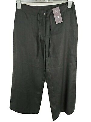 Ladies SIZE 10 summer black cropped linen trousers BNWT (J142#)