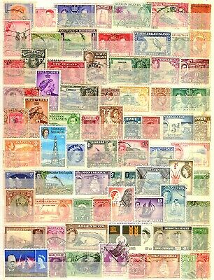 Commonwealth 75 Pre Deciamal Stamps Selection USED.