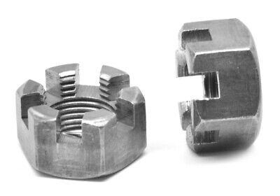 """2""""-12 Slotted Finished Hex Nut Low Carbon Steel Plain Finish"""