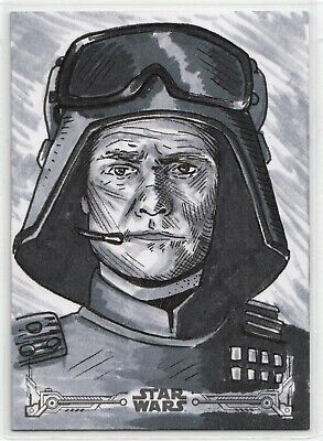 "2019 Star Wars ESB Black & White ""General Veers"" Sketch Card Caleb Hildenbrandt"