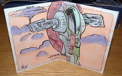 "Star Wars ESB Illustrated ""SLAVE I"" Panorama Sketch Card by Erik Hodson"