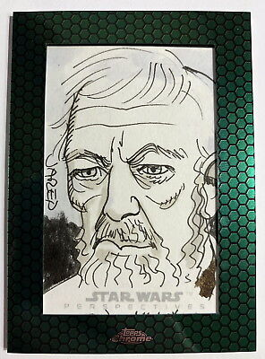Topps Star Wars Chrome Perspectives Old Ben Kenobi Sketch Card by Jared Hickman