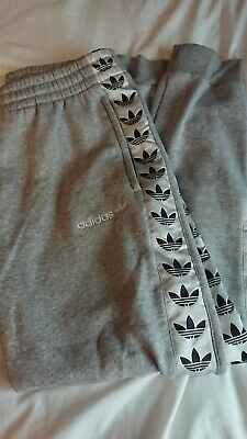 Adidas Orignals Grey Fleece Tracksuit Jogging Pants Bottoms Taping Joggers Zips