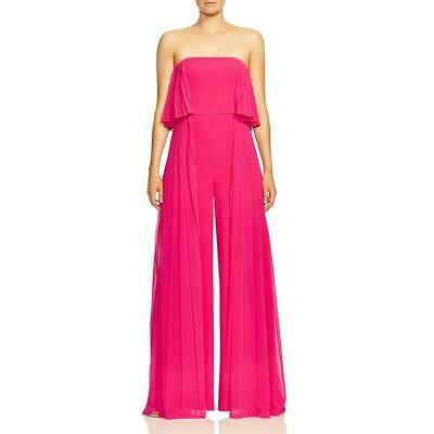 Halston Womens Pink Pleated Wide-Leg Night Out Jumpsuit 12 BHFO 6381