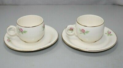 Homer Laughlin Eggshell Georgian Ivory & Pink Roses Cups and Saucers Set of 2