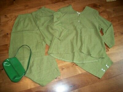 Nwot Studio 90 Linen Set Art To Wear M/L Green Casbah Capri Pants & Jacket Set