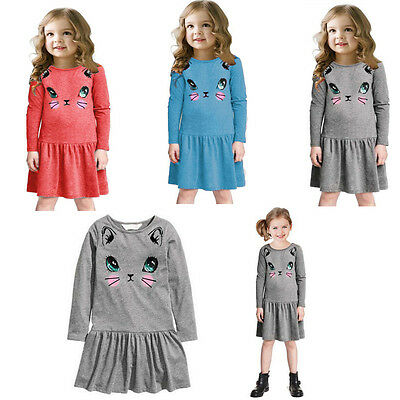 Kids Baby Girls Cat Animal Printed Long Sleeve Lovely Party Lot Pleated Dress