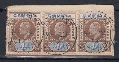 Gambia ?1902 4d used strip of 3 - SG50 or 62 on small piece