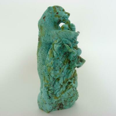 Large Antique Chinese Turquoise Stone Carving Of A Bear On A Peach Tree
