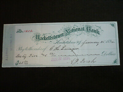 Cheque from The Hackettstown National Bank, Hackettstown, N.J. - 1894