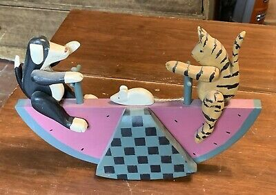 "Carved Folk Art Cat Dog Watermelon See Saw, signed ""Migonis"" 1994"