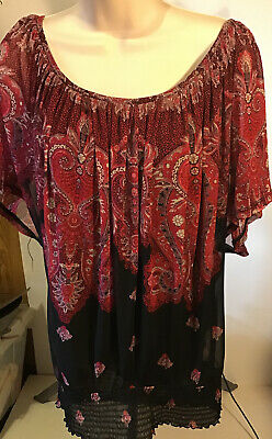 Inc Womens Size Large/Xlarge Blouse Detachable Shell Black & Red Paisley Print
