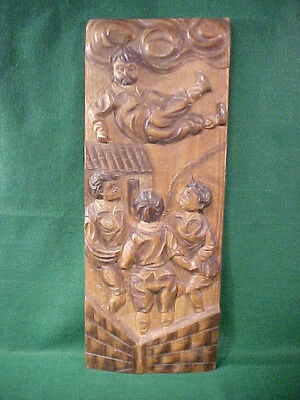 Wonderful Old Vintage Carved Wood Folk Art Wall Plaque Great Old Piece