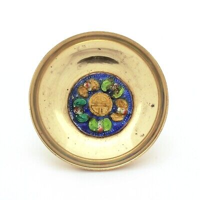 Chinese Brass Enamel Dish with Chinese Characters & Bats Stamped China