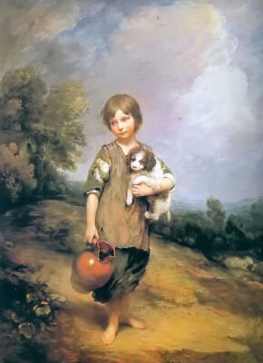 Oil painting thomas gainsborough - Country kids and puppies holding pot canvas