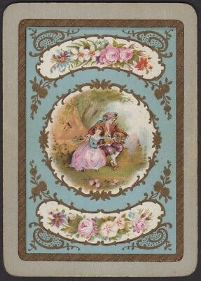 Playing Cards Single Card Old Antique Wide MAN + DAUGHTER Bird Cage FLOWERS Art