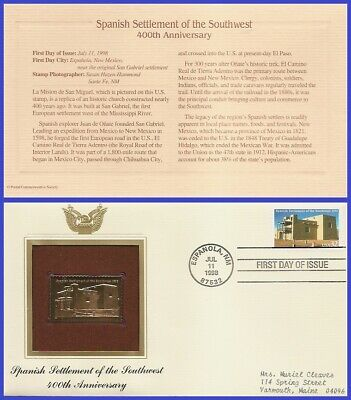 #3220 ADDR GOLDEN REPLICA FDC   Spanish Settlement of the South