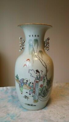 Antique Large Chinese Famille Rose Porcelain Vase Early 20th C. Republic Period